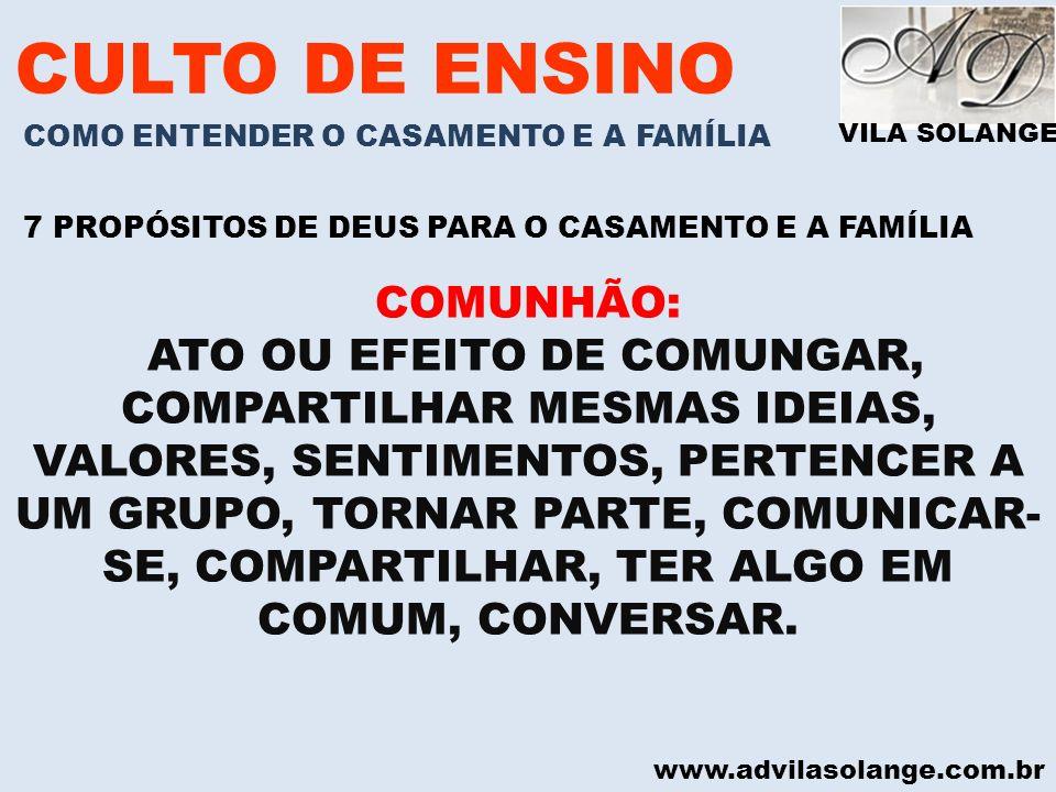 CULTO DE ENSINO COMUNHÃO: