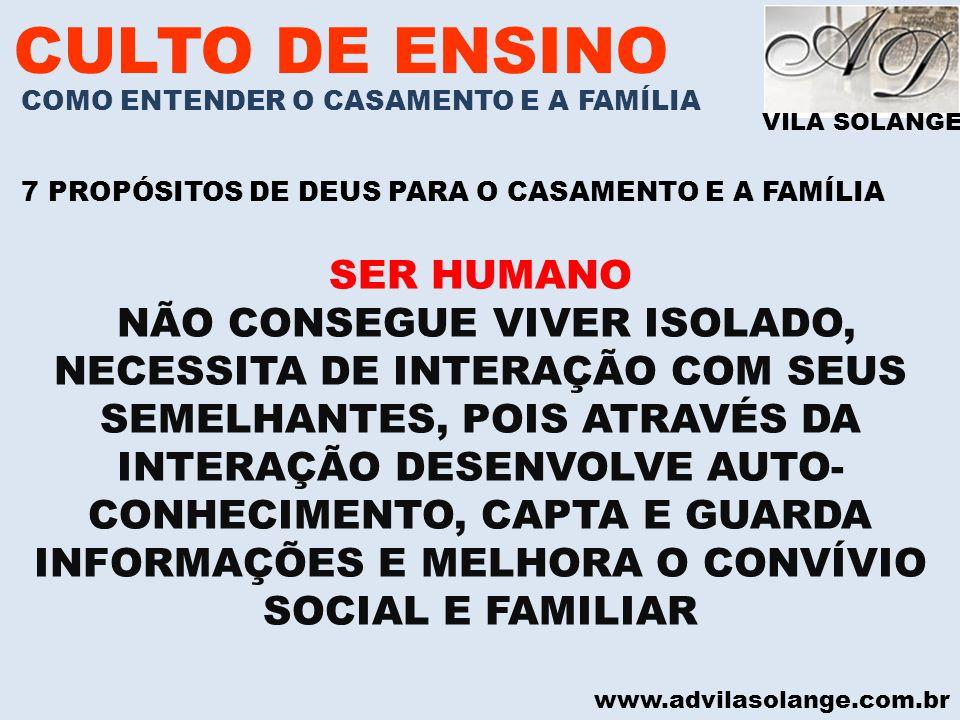 CULTO DE ENSINO SER HUMANO