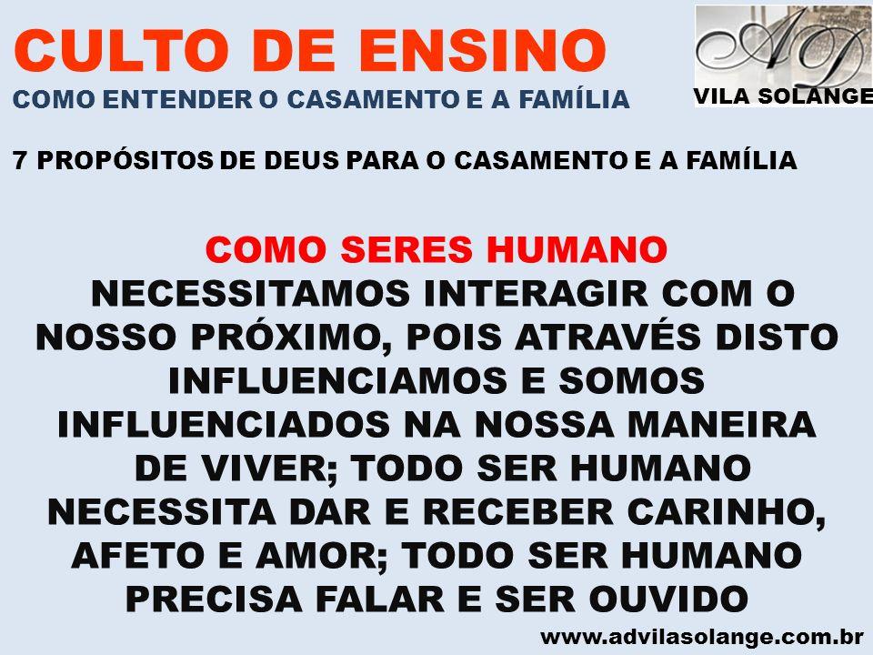 CULTO DE ENSINO COMO SERES HUMANO