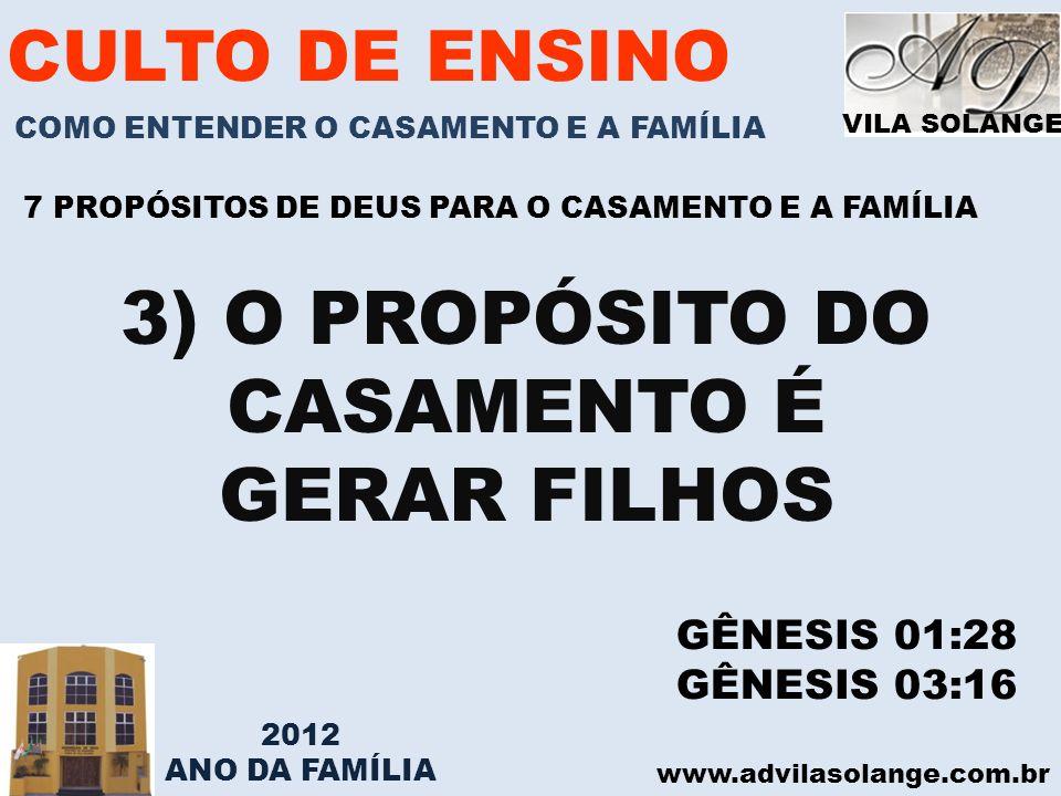 3) O PROPÓSITO DO CASAMENTO É
