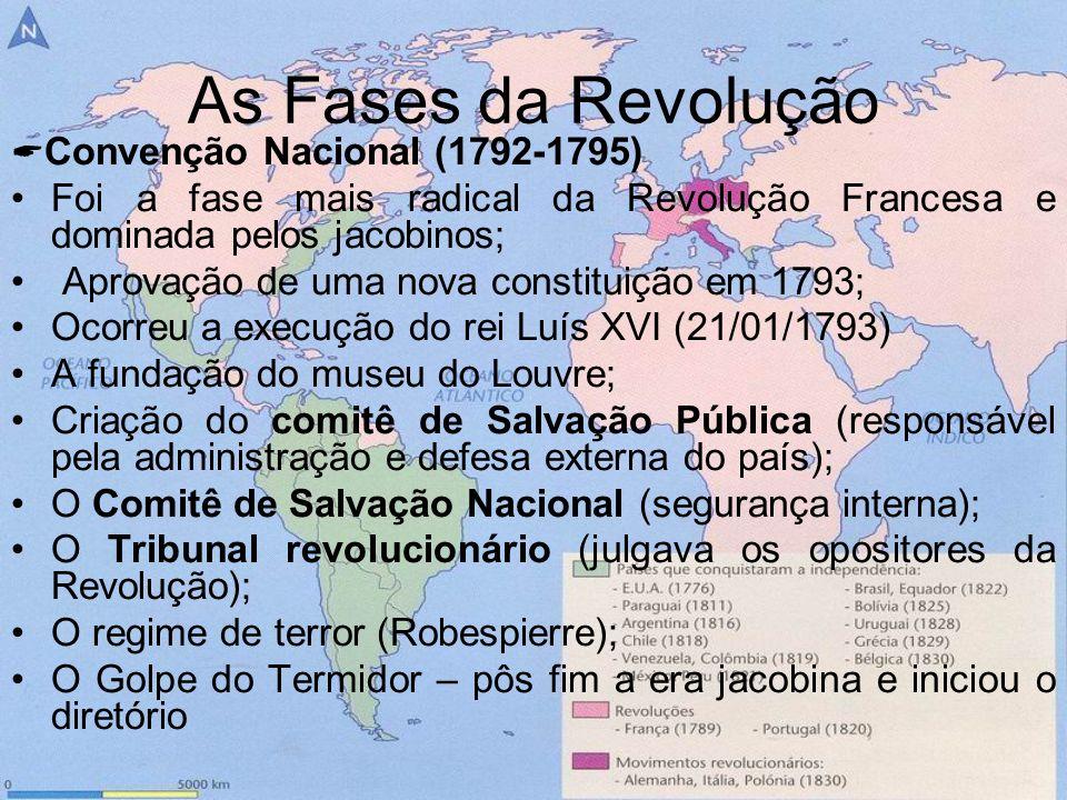 As Fases da Revolução Convenção Nacional (1792-1795) Foi a fase mais radical da Revolução Francesa e dominada pelos jacobinos;