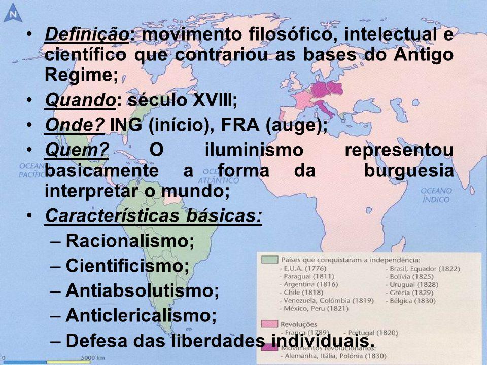 Definição: movimento filosófico, intelectual e científico que contrariou as bases do Antigo Regime;