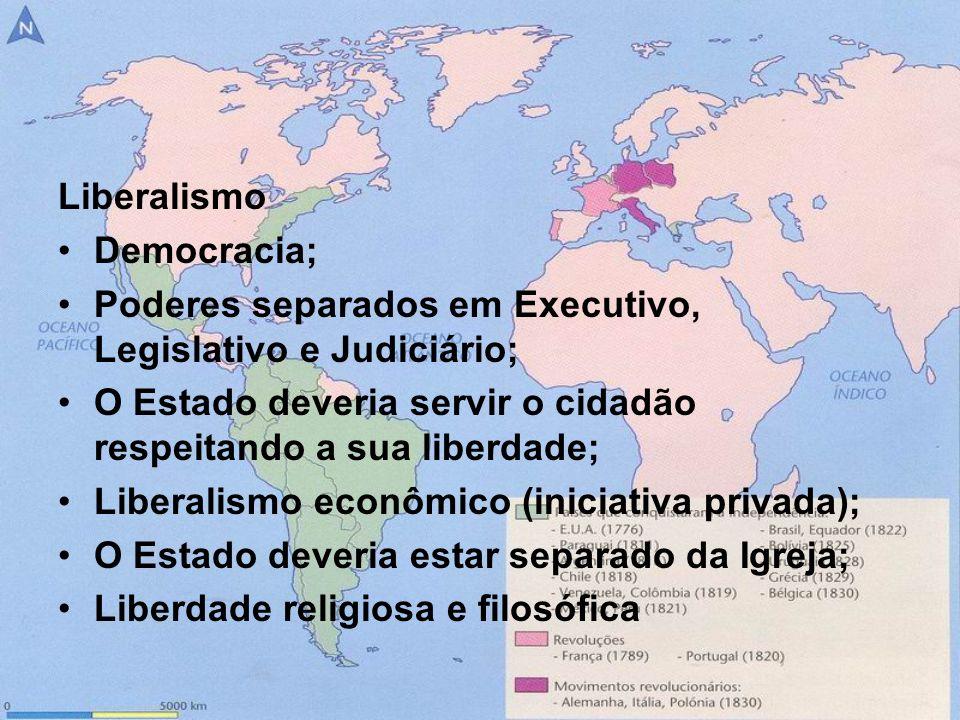 LiberalismoDemocracia; Poderes separados em Executivo, Legislativo e Judiciário; O Estado deveria servir o cidadão respeitando a sua liberdade;