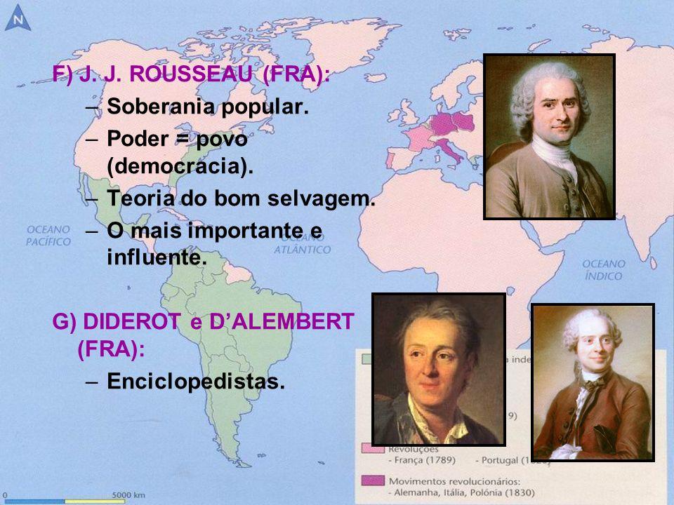 F) J. J. ROUSSEAU (FRA): Soberania popular. Poder = povo (democracia). Teoria do bom selvagem. O mais importante e influente.