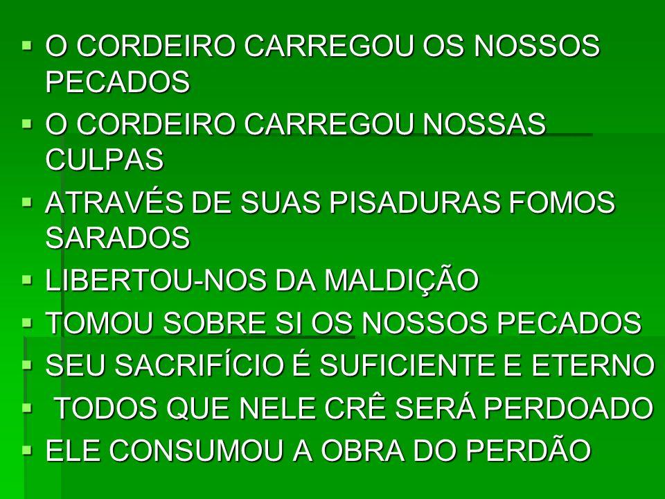 O CORDEIRO CARREGOU OS NOSSOS PECADOS