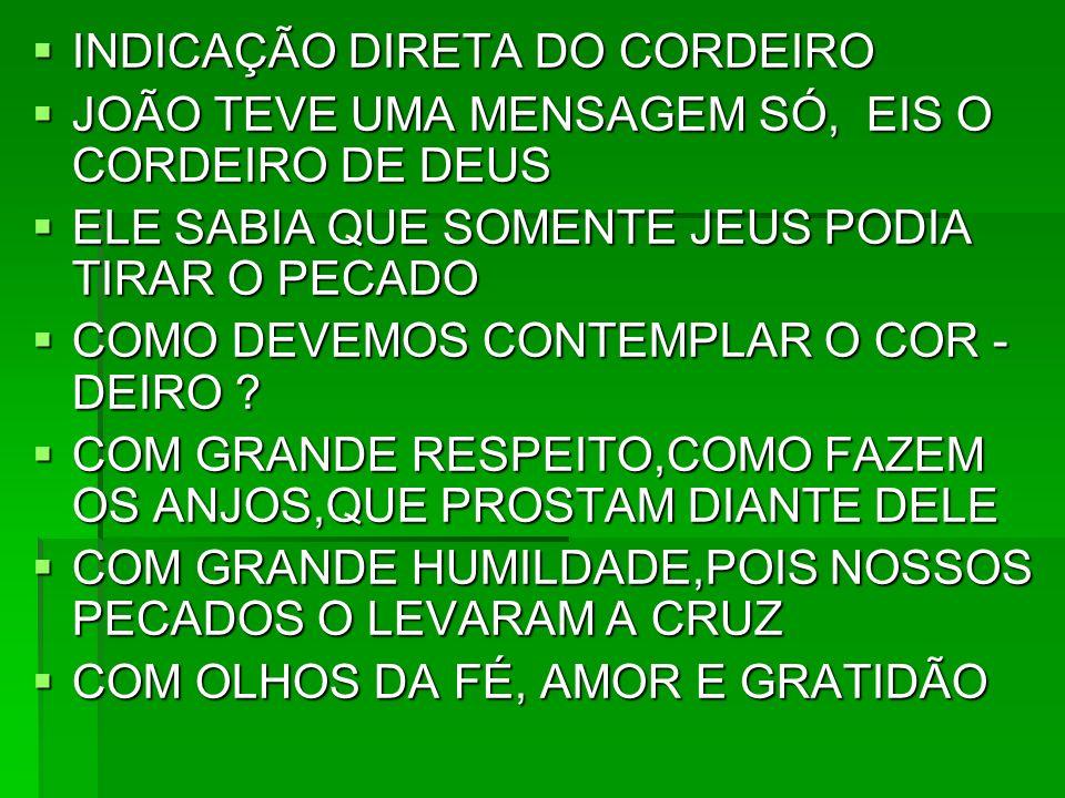 INDICAÇÃO DIRETA DO CORDEIRO