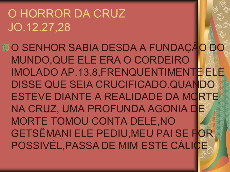 O HORROR DA CRUZ JO.12.27,28