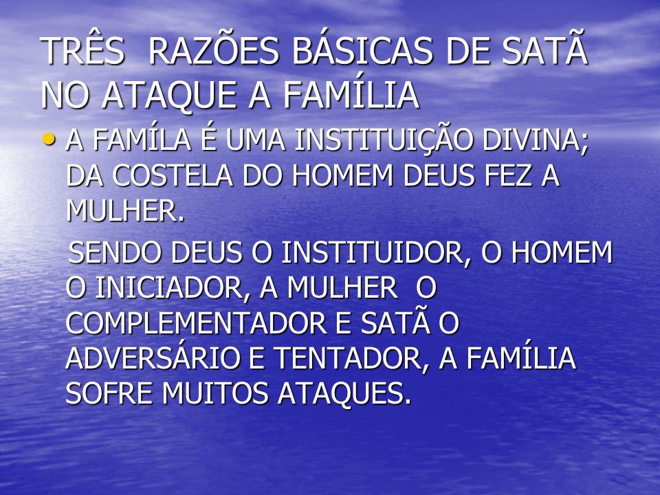 TRÊS RAZÕES BÁSICAS DE SATÃ NO ATAQUE A FAMÍLIA
