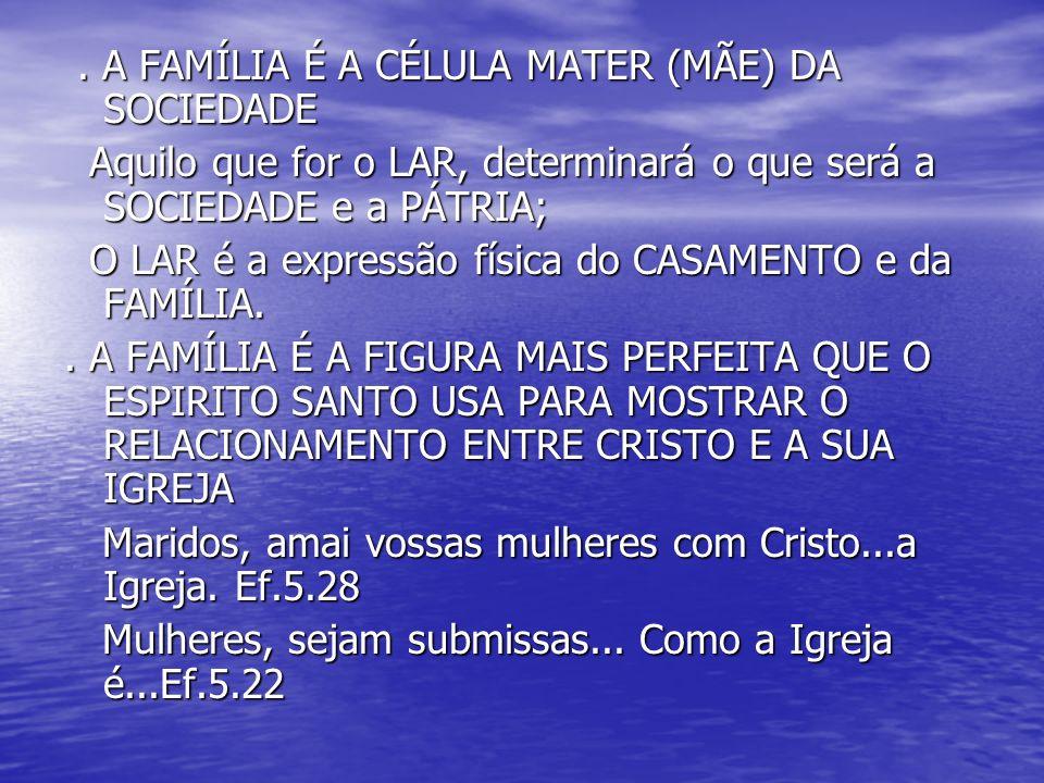 . A FAMÍLIA É A CÉLULA MATER (MÃE) DA SOCIEDADE