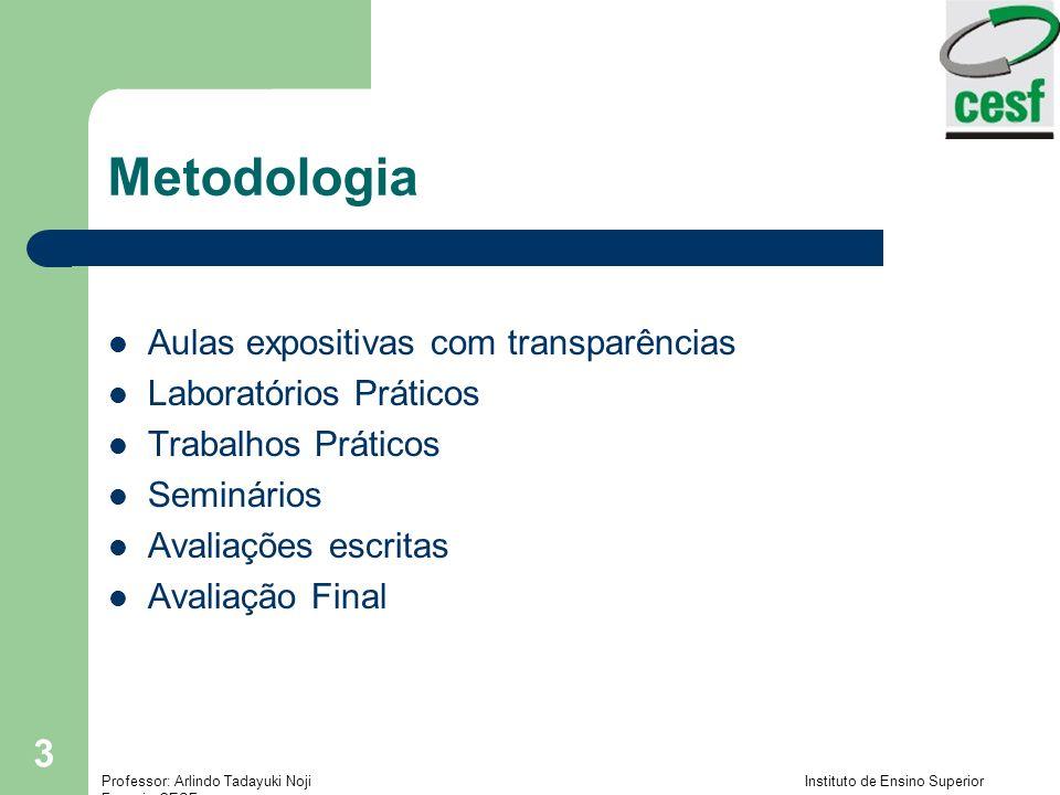 Metodologia Aulas expositivas com transparências Laboratórios Práticos