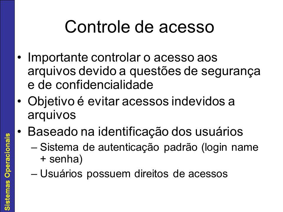 Controle de acesso Importante controlar o acesso aos arquivos devido a questões de segurança e de confidencialidade.