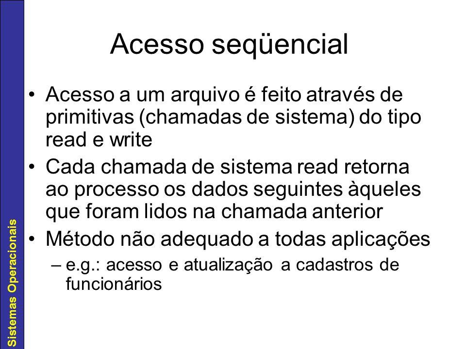 Acesso seqüencial Acesso a um arquivo é feito através de primitivas (chamadas de sistema) do tipo read e write.