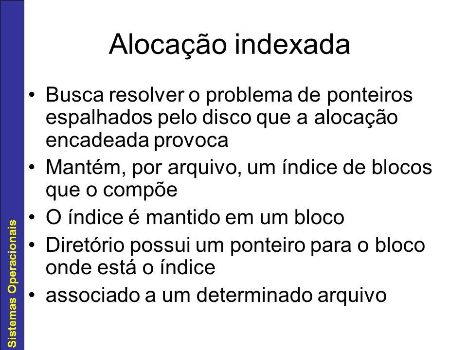 Alocação indexada Busca resolver o problema de ponteiros espalhados pelo disco que a alocação encadeada provoca.