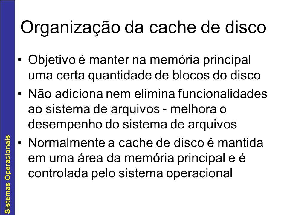 Organização da cache de disco