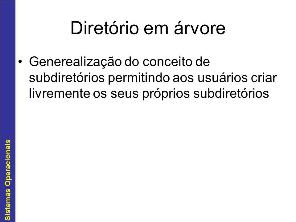 Diretório em árvoreGenerealização do conceito de subdiretórios permitindo aos usuários criar livremente os seus próprios subdiretórios.