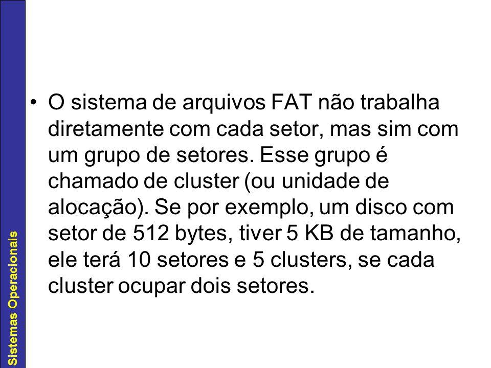 O sistema de arquivos FAT não trabalha diretamente com cada setor, mas sim com um grupo de setores.