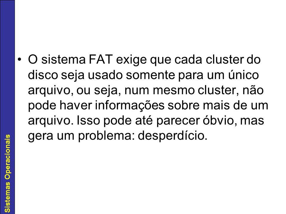 O sistema FAT exige que cada cluster do disco seja usado somente para um único arquivo, ou seja, num mesmo cluster, não pode haver informações sobre mais de um arquivo.