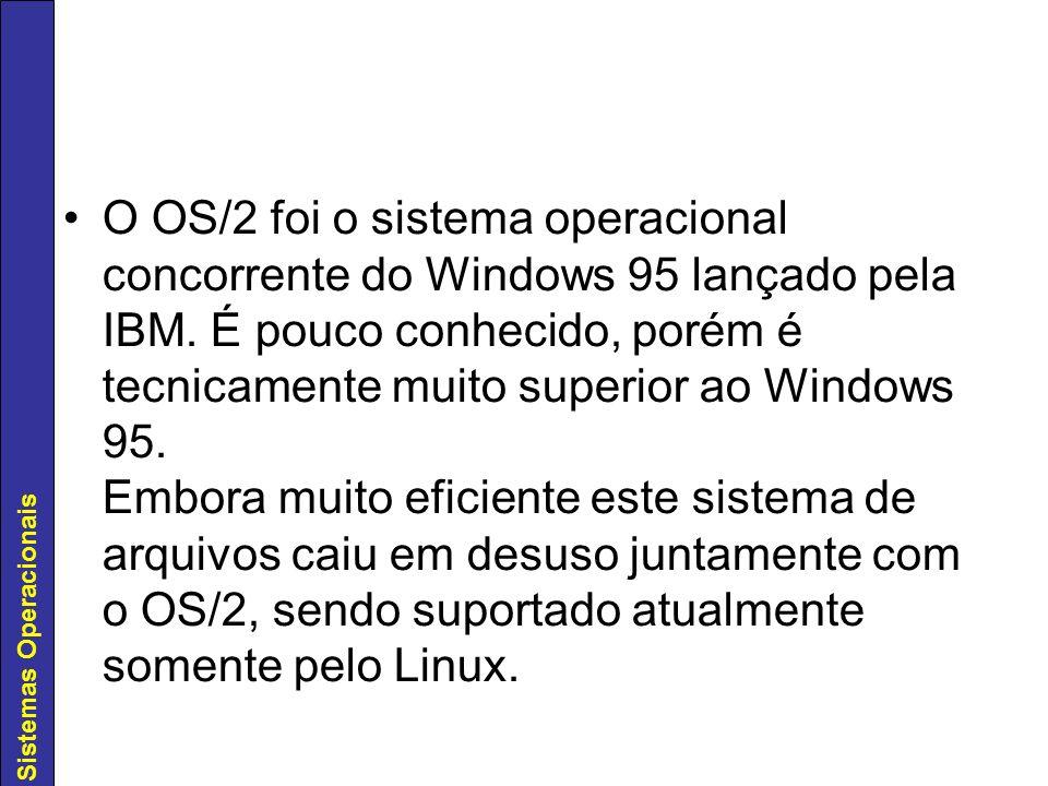 O OS/2 foi o sistema operacional concorrente do Windows 95 lançado pela IBM.