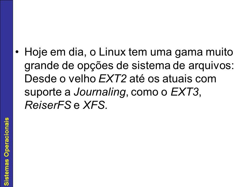 Hoje em dia, o Linux tem uma gama muito grande de opções de sistema de arquivos: Desde o velho EXT2 até os atuais com suporte a Journaling, como o EXT3, ReiserFS e XFS.