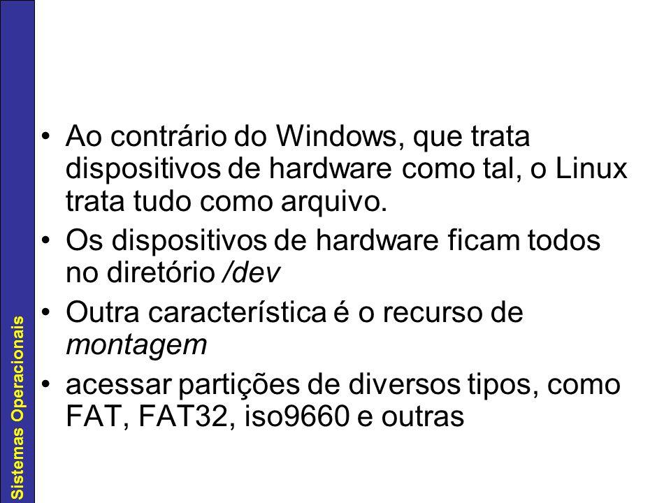 Ao contrário do Windows, que trata dispositivos de hardware como tal, o Linux trata tudo como arquivo.