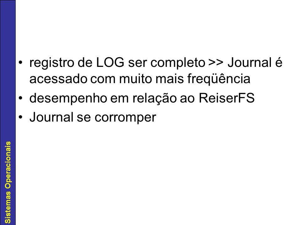 registro de LOG ser completo >> Journal é acessado com muito mais freqüência