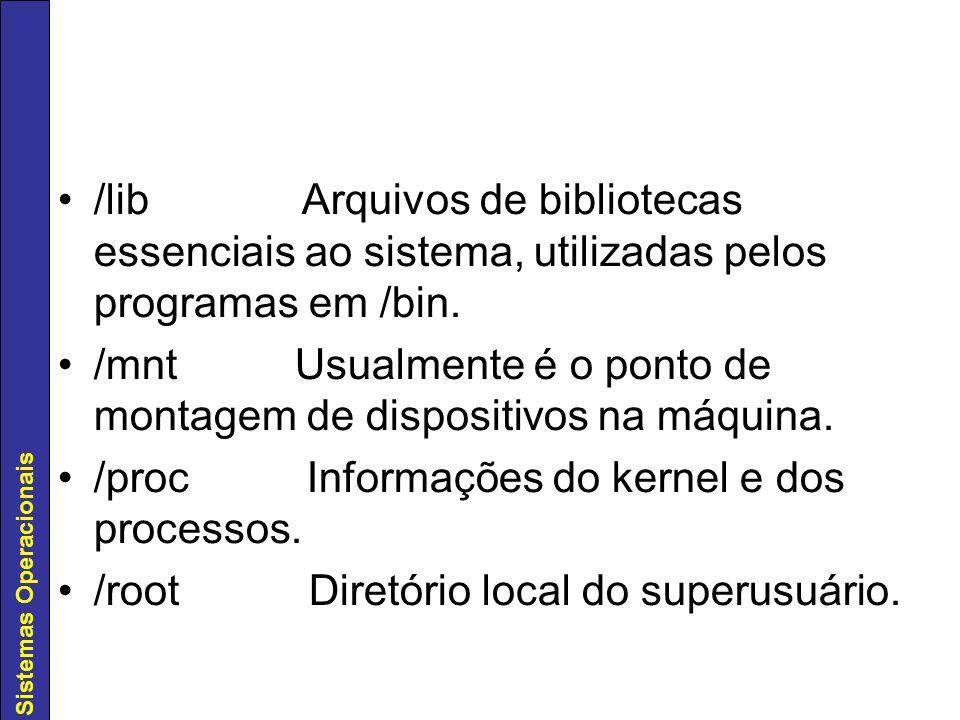 /lib Arquivos de bibliotecas essenciais ao sistema, utilizadas pelos programas em /bin.
