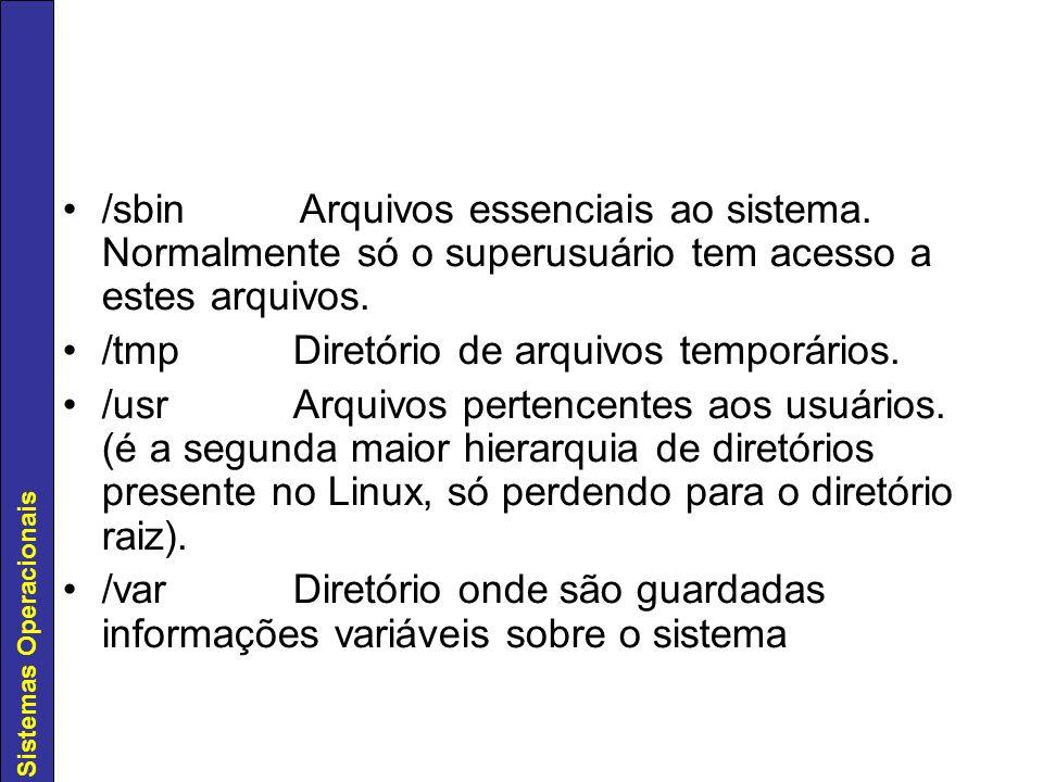 /sbin Arquivos essenciais ao sistema