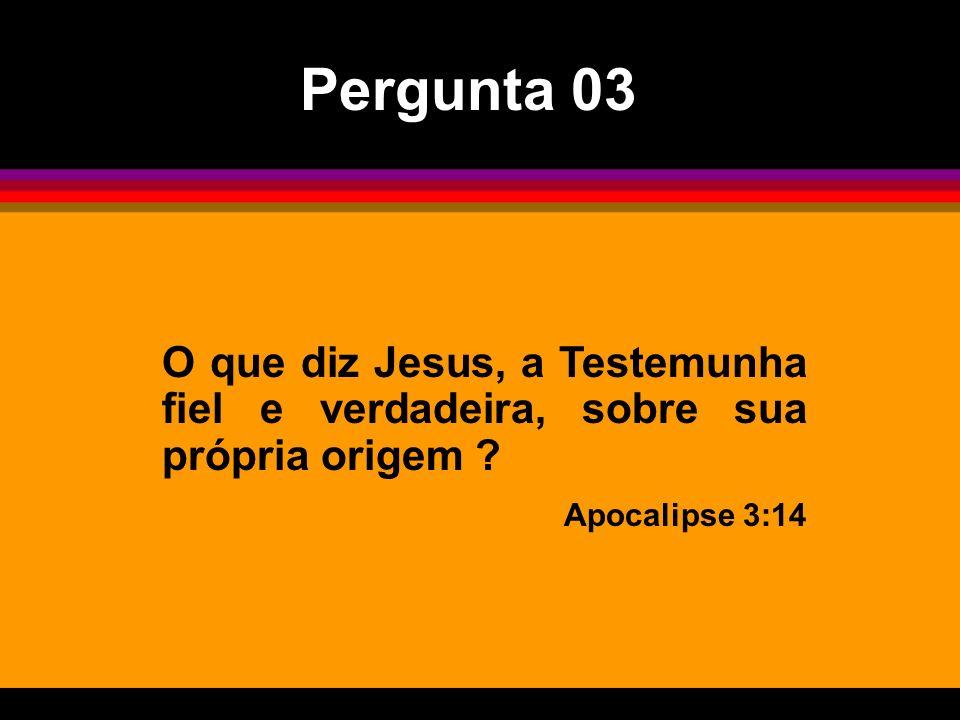 Pergunta 03 O que diz Jesus, a Testemunha fiel e verdadeira, sobre sua própria origem .