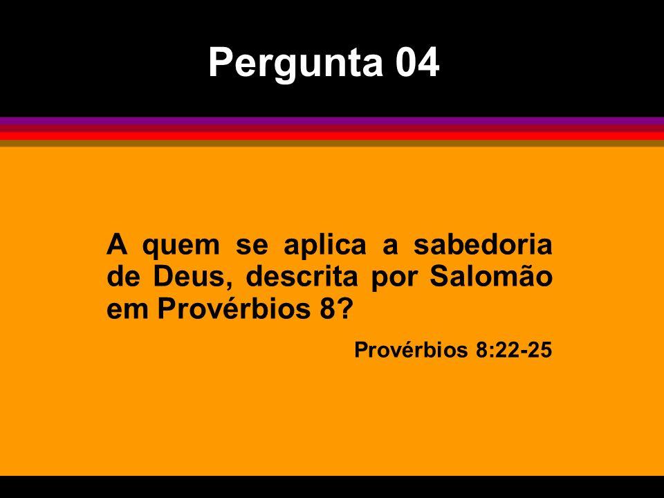 Pergunta 04 A quem se aplica a sabedoria de Deus, descrita por Salomão em Provérbios 8.
