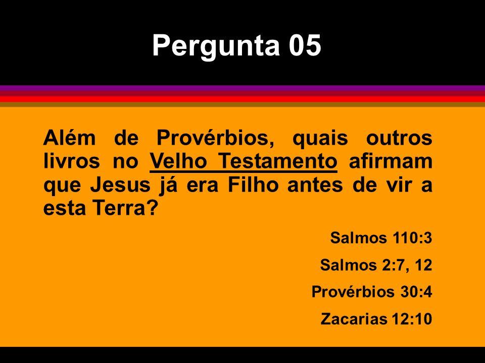Pergunta 05 Além de Provérbios, quais outros livros no Velho Testamento afirmam que Jesus já era Filho antes de vir a esta Terra