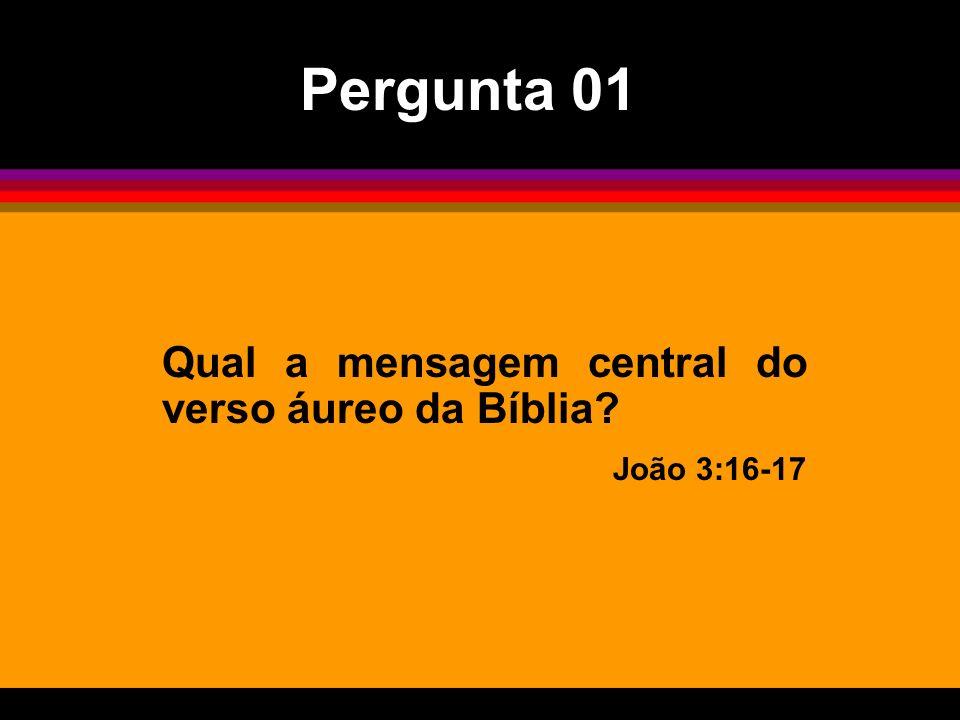 Pergunta 01 Qual a mensagem central do verso áureo da Bíblia