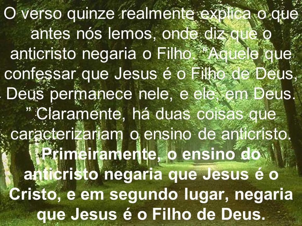 O verso quinze realmente explica o que antes nós lemos, onde diz que o anticristo negaria o Filho.