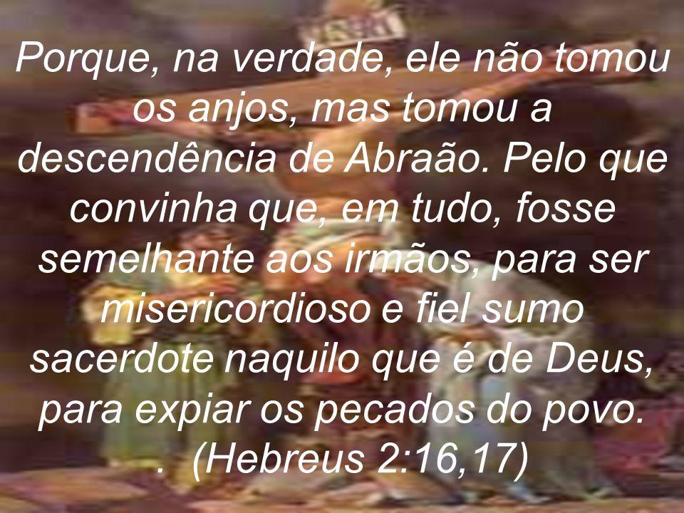 Porque, na verdade, ele não tomou os anjos, mas tomou a descendência de Abraão. Pelo que convinha que, em tudo, fosse semelhante aos irmãos, para ser misericordioso e fiel sumo sacerdote naquilo que é de Deus, para expiar os pecados do povo.