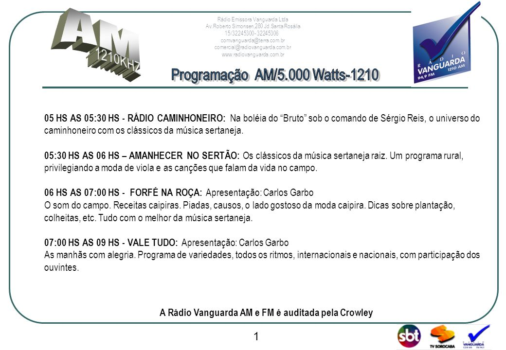 A Rádio Vanguarda AM e FM é auditada pela Crowley