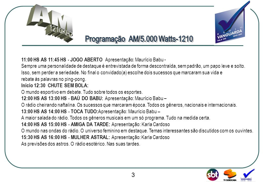 Programação AM/5.000 Watts-1210