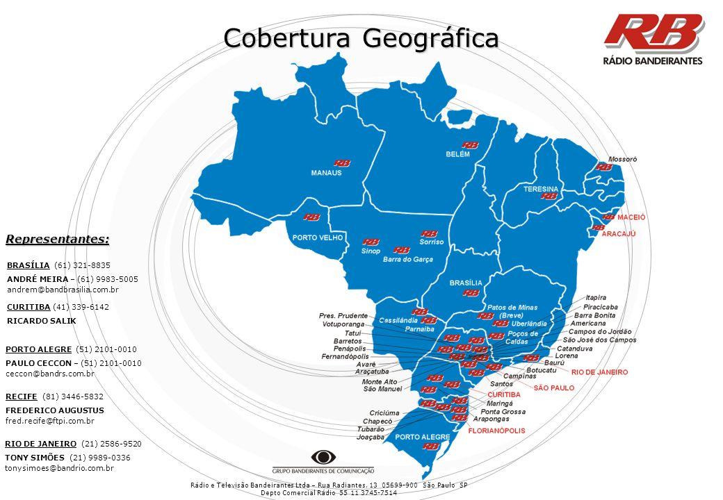 Cobertura Geográfica Representantes: BRASÍLIA (61) 321-8835