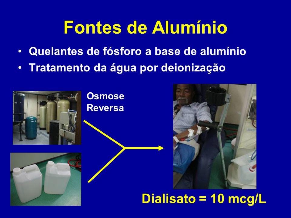 Fontes de Alumínio Dialisato = 10 mcg/L