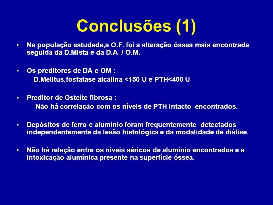 Conclusões (1) Na população estudada,a O.F. foi a alteração óssea mais encontrada seguida da D.Mista e da D.A / O.M.