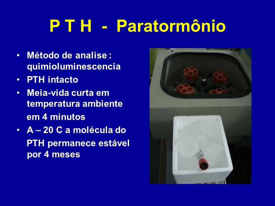 P T H - Paratormônio Método de analise : quimioluminescencia