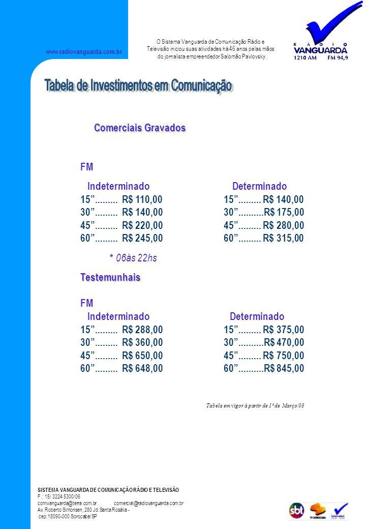 Tabela de Investimentos em Comunicação