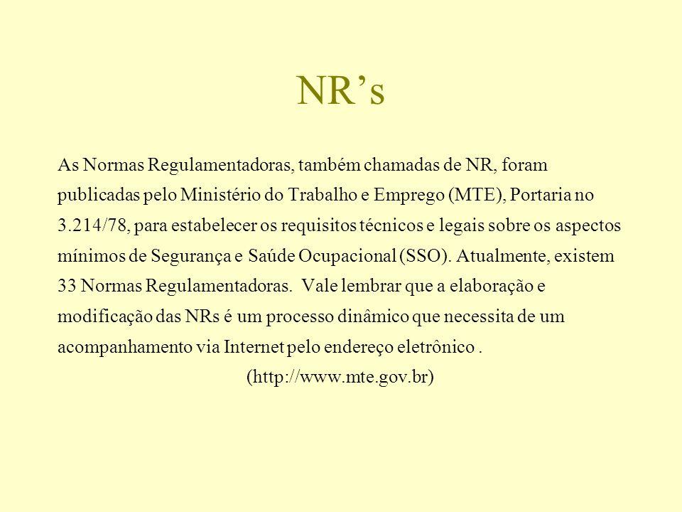 NR's As Normas Regulamentadoras, também chamadas de NR, foram