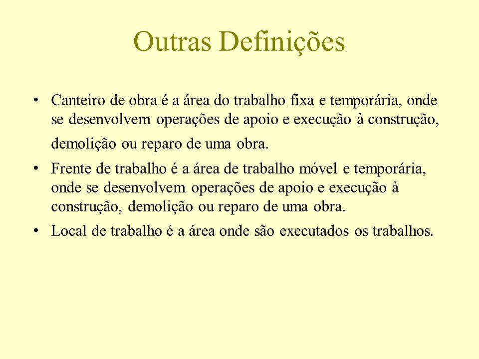 Outras Definições Canteiro de obra é a área do trabalho fixa e temporária, onde se desenvolvem operações de apoio e execução à construção,