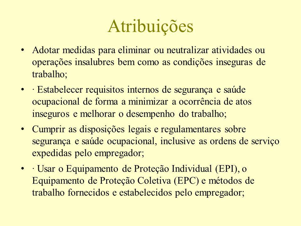 Atribuições Adotar medidas para eliminar ou neutralizar atividades ou operações insalubres bem como as condições inseguras de trabalho;