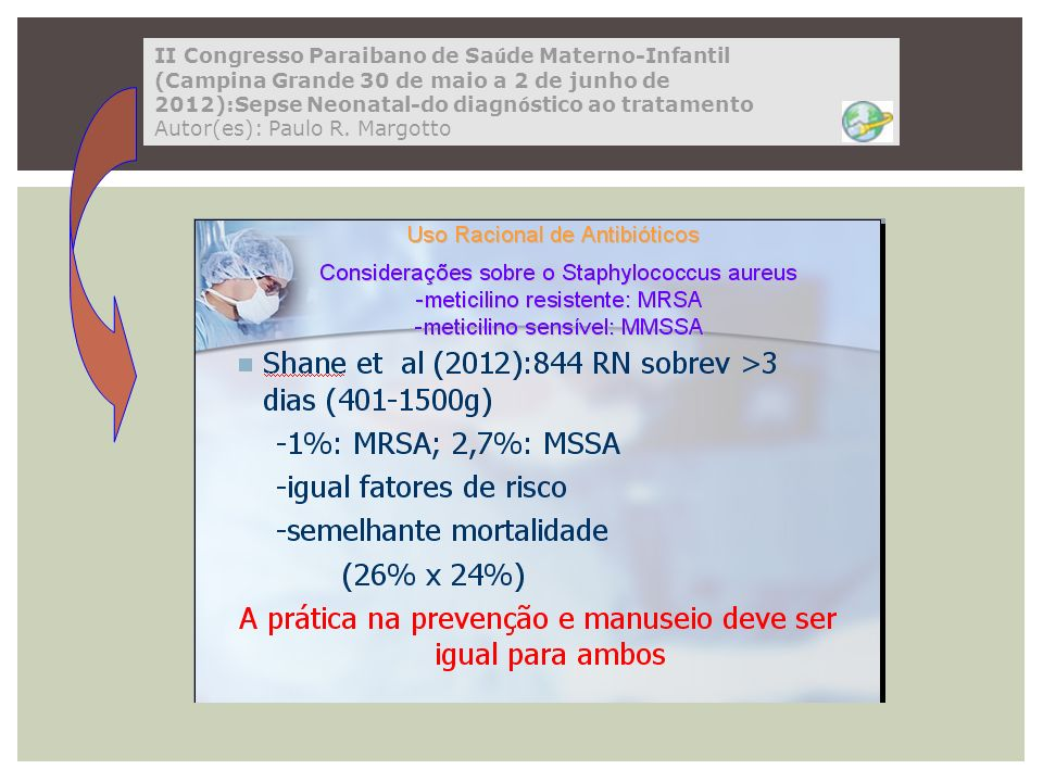 II Congresso Paraibano de Saúde Materno-Infantil (Campina Grande 30 de maio a 2 de junho de 2012):Sepse Neonatal-do diagnóstico ao tratamento Autor(es): Paulo R. Margotto
