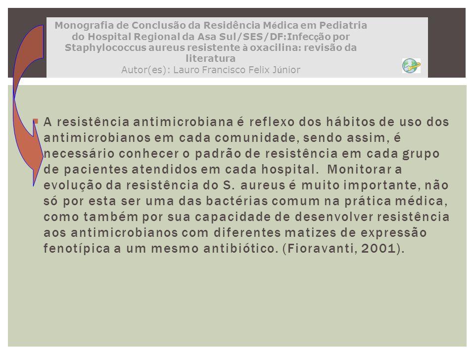 Monografia de Conclusão da Residência Médica em Pediatria do Hospital Regional da Asa Sul/SES/DF:Infecção por Staphylococcus aureus resistente à oxacilina: revisão da literatura Autor(es): Lauro Francisco Felix Júnior