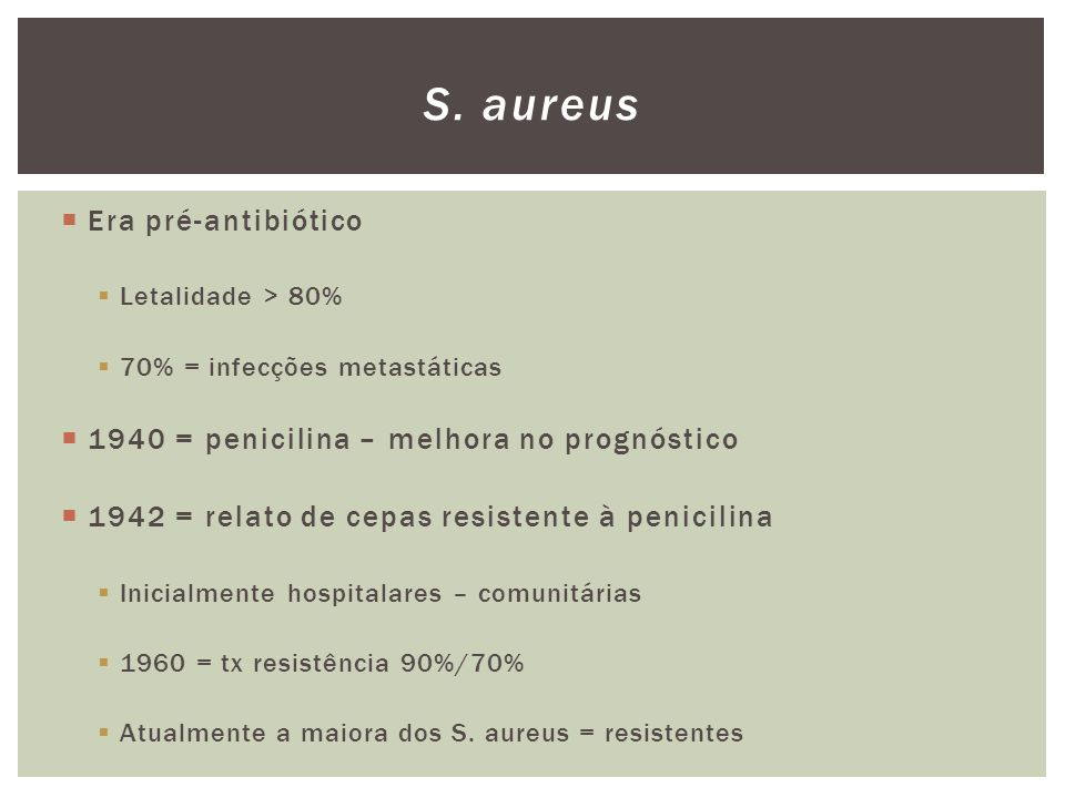 S. aureus Era pré-antibiótico