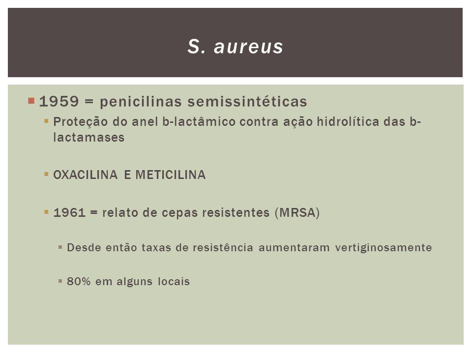 S. aureus 1959 = penicilinas semissintéticas
