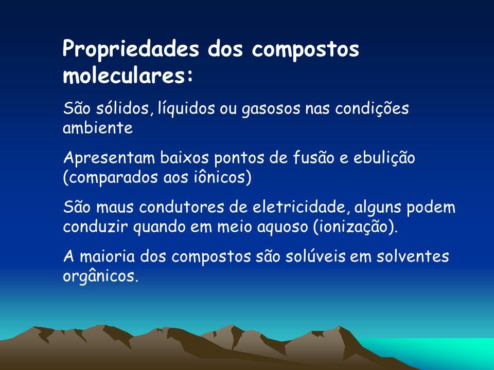 Propriedades dos compostos moleculares: