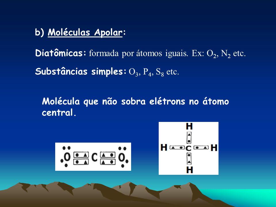 b) Moléculas Apolar: Diatômicas: formada por átomos iguais. Ex: O2, N2 etc. Substâncias simples: O3, P4, S8 etc.