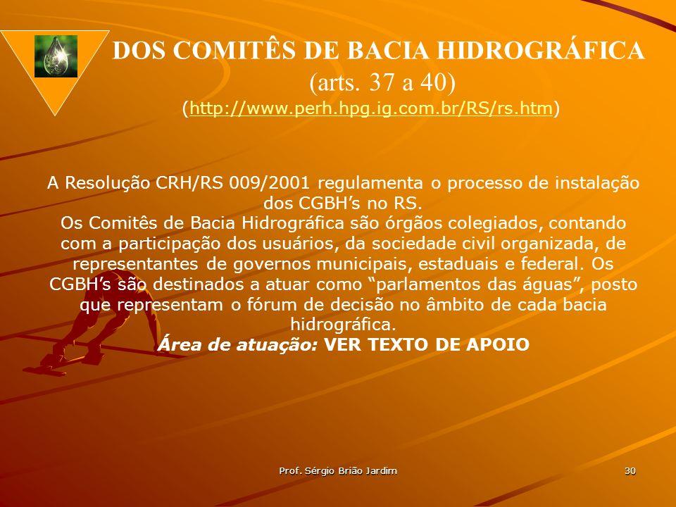 DOS COMITÊS DE BACIA HIDROGRÁFICA Área de atuação: VER TEXTO DE APOIO
